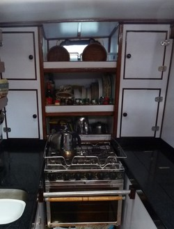 The Galley which is the tiny kitchen on Three Ships
